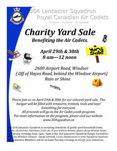 Charity Annual Yard Sale April 29th and 30th  8 am - noon