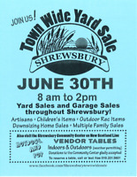 Shrewsbury Townwide Yardsale - Looking for Vendors June 30th!