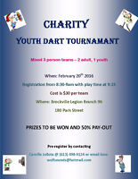 Charity   Youth Dart Tournament February Sat. 20th At the Brockv
