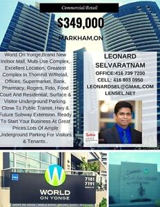 Commercial Retail property for sale. YONGE/STEELES $349k