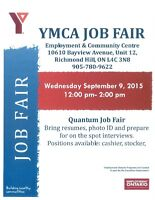 JOB FAIR!! September 9, 2015 at YMCA Richmond Hill Employment