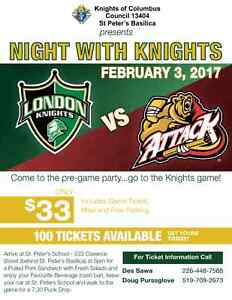 LONDON KNIGHTS vs OWEN SOUND ATTACK - TICKET, DINNER & PARKING