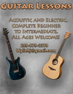 Guitar Lessons - $40 Per Hour - Acoustic and/or Electric