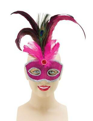 Pink + Hoch Pfauenfeder, Maskenball Augen Maske, Maskenball, - Pfau Kostüm Maske