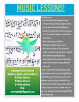 Voice, Cello, and Piano Music Lessons!