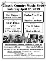 Classic Country Music Show- April 6th- Best Western Glengarry