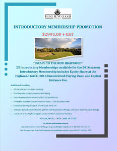 Introductory Membership - Highwood Golf & Country Club