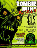 PAINTBALL ZOMBIE HUNT BUS RIDE, SHOOTING RANGE AND HAUNTED WOODS