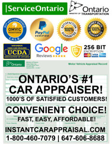 CAR APPRAISAL: SERVICE ONTARIO (MTO) APPROVED! FREE CARFAX $40