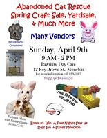 ABANDONED CAT RESCUE SPRING CRAFT SALE, YARDSALE AND MUCH MORE!!