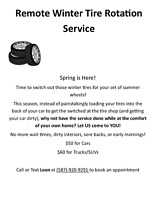 Remote Winter Tire Rotation Service