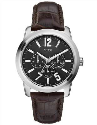 Guess Mens Watch RRP £149 - Black with Brown Leather Band - Sale Price (Guess Men Sale)