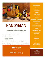 Handyman services offered by Certified Home Inspector