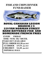 WEEKLY FISH & CHIPS  RCL Br. No. 5 CANCELLED  REMEMBRANCE DAY