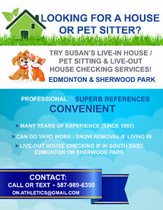 Live-In House/Pet Sitting, Live-Out House Checking Services