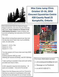Spots available for jump clinic with Olympian Mac Cone