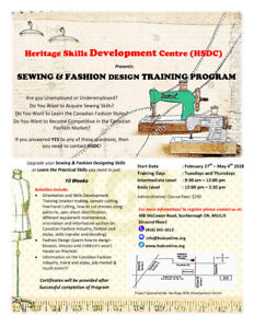 SEWING AND FASHION DESIGN CLASSES  WINTER- 2018