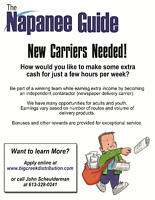 Adult & Youth newspaper carriers required in the Napanee area.