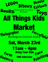Vendors needed with toys and games for Burlington market Mar 23