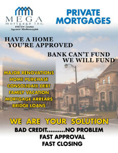 PRIVATE MORTGAGES: BANK DECLINED...NO PROBLEM