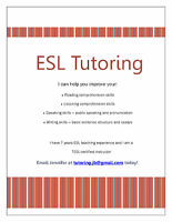 Experienced ESL tutor available evenings and weekends
