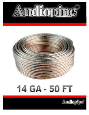 50' Feet 14 Gauge 2 Conductor Clear Speaker Wire Home Car Zip Cord Audio Cable
