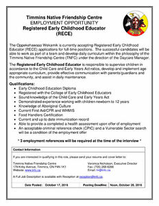 Employment Opportunity - Registered Early Childhood Educator
