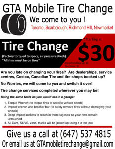 MOBILE SUMMER TIRE CHANGE ! WE COME TO YOU!! $30