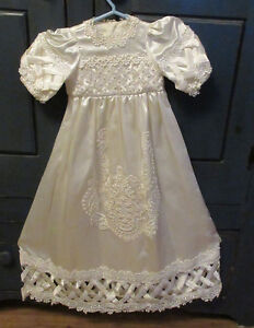 ◆ NONE-LIKE-IT Satin CHRISTENING GOWN Hand-made 3-6 mths◆