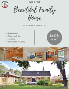 Beautiful Family house for rent in Kirkland