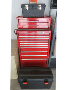 RED TOOL STORAGE CABINET ON WHEELS AND MUCH MORE.