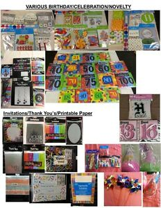 New Party Supply Clearout-Birthday,Wedding,Baby,Grad,Retirement