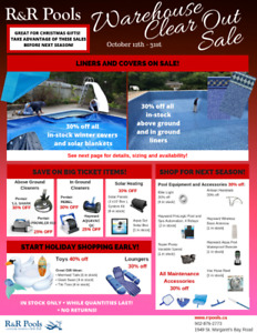 Swimming Pool Supplies Warehouse Clear Out Sale