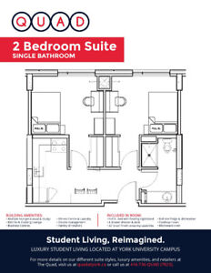 Private Bedroom in Two Bedroom at the Quad York University