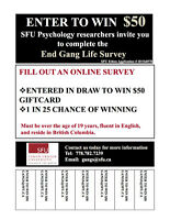 SFU Psychology Research - ENTER TO WIN ONLINE SURVEY $50