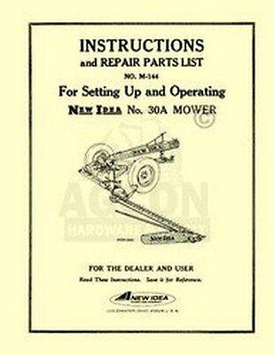 New Idea 30a 30 A Sickle Mower Operators Parts Manual