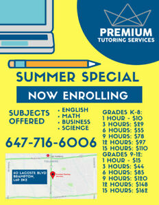 SUMMER SPECIAL PRICING - PREMIUM TUTORING SERVICES