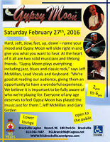 Gypsy Moon Saturday February 27th  2-6pm Brockville Legion