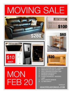 MOVE OUT SALE - ALL ITEMS MUST GO - COUCH, CART, A/C UNIT...