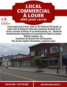 Local commercial à louer centre ville de Roberval