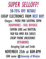 Electronics sale at the university of Windsor!  CAW CENTER!