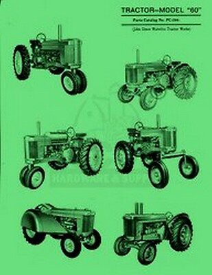 John Deere All Model 60 Tractor Parts Manual Catalog Jd