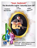 Sean Seabrook  at The Brockville Legion  June Saturday 18th 1-5p