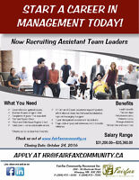 Now Hiring an Assistant Team Leaders!