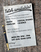 Private tutor Grade 1 to Grade 8, All subjects