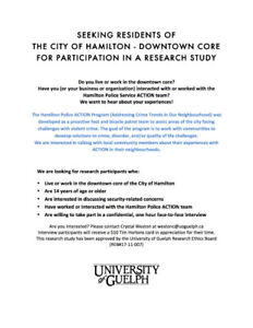 SEEKING RESEARCH PARTICIPANTS - DOWNTOWN HAMILTON RESIDENTS