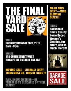 GARAGE / YARD SALE - MOVING SALE - SAT OCT 26th ~ 8AM to 3PM
