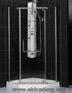 Neo-angle and glass round shower stalls.Sophisticated design &