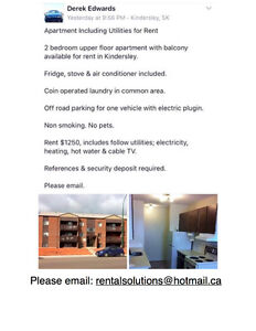 Apartment including utilities for rent in Kindersley, Sk