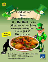 """St. Patricks Day Dinner All you can eat """"STEW"""" Friday March 17th"""